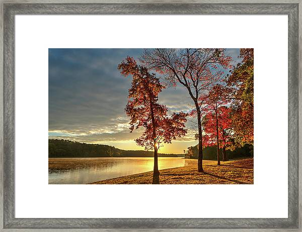 East Texas Autumn Sunrise At The Lake Framed Print