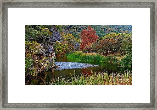 East Trail Pond At Lost Maples Framed Print