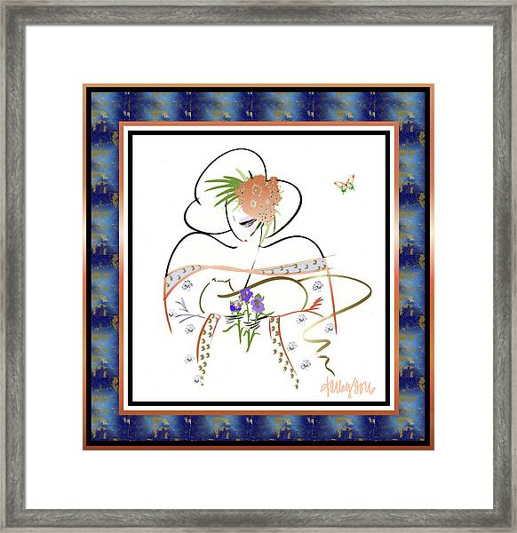 Framed Print featuring the painting East Wind - Temple Cat by Larry Talley