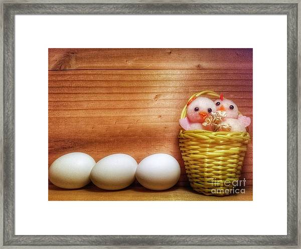 Easter Basket Of Pink Chicks With Eggs Framed Print