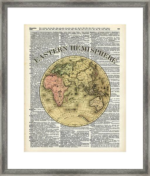 Eastern Hemisphere Earth Map Over Dictionary Page Framed Print