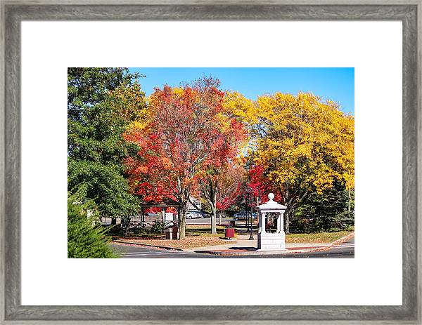 Easthampton Center In The Fall Framed Print