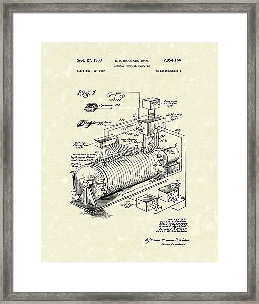 Eckdahl Computer 1960 Patent Art Framed Print