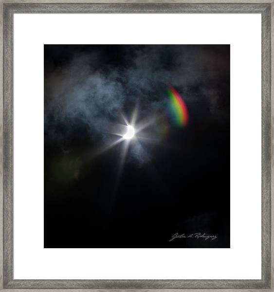 Solar Eclipse 2017 And Rainbow Framed Print