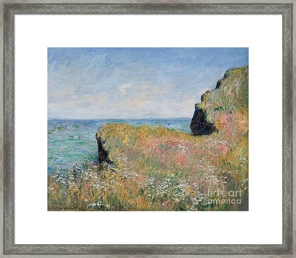 Edge Of The Cliff Pourville Framed Print