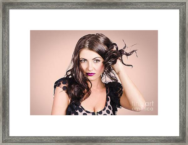 Edgy Hair Fashion Model With Brunette Hairstyle Framed Print