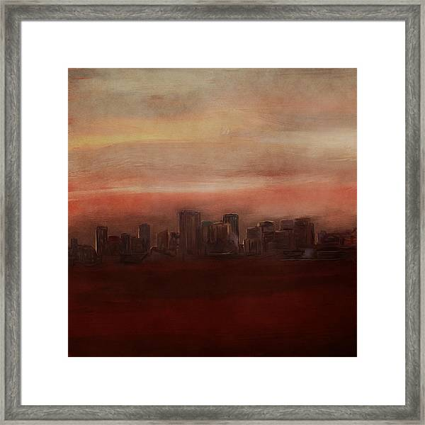 Edmonton At Sunset Framed Print