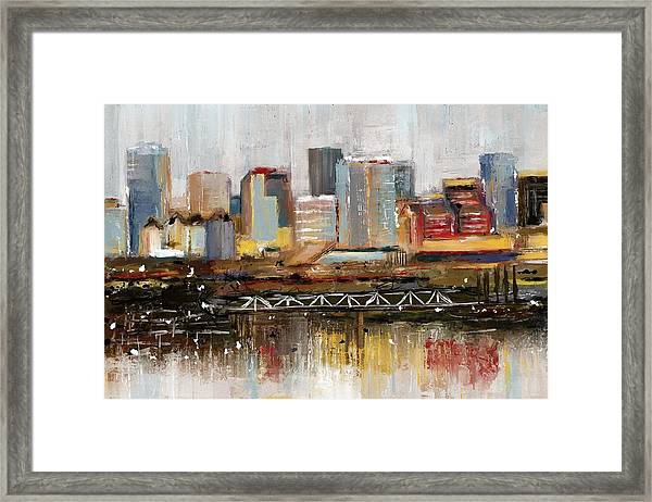 Edmonton Skyline Abstract1 Framed Print
