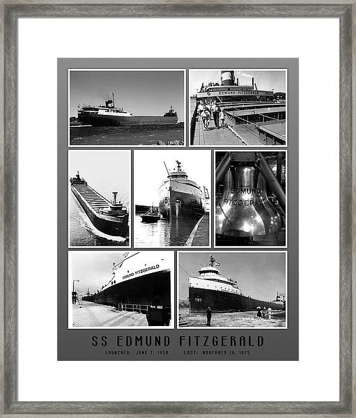 Edmund Fitzgerald Black And White Framed Print