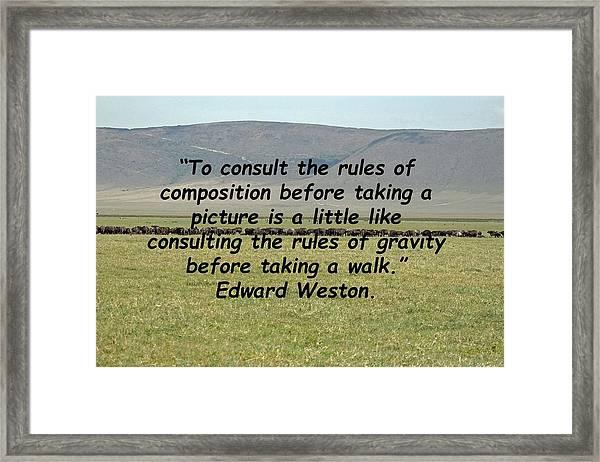 Edward Weston Quote Framed Print