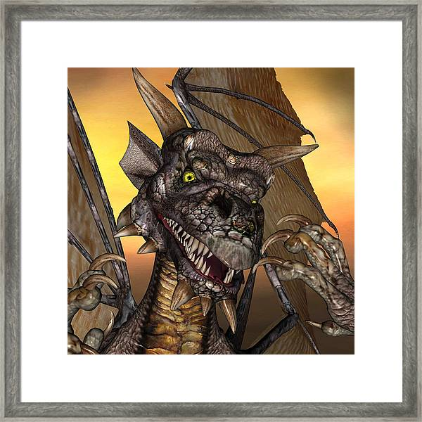 'edwin' Dragon - With Claws Like These Who Needs A Tooth Pick  Framed Print