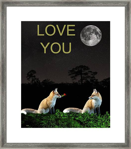 Framed Print featuring the mixed media Eftalou Foxes Love You by Eric Kempson