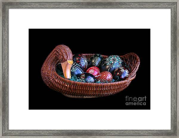 Eggs In A Goose Basket Framed Print