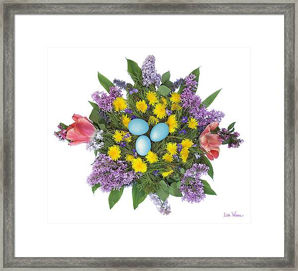 Eggs In Dandelions, Lilacs, Violets And Tulips Framed Print