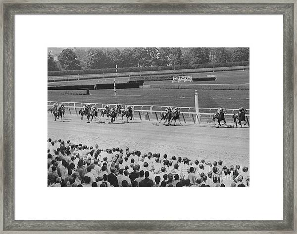Egomaniac Heads For Victory On Opening Day At Belmont. 1969 Framed Print by Anthony Calvacca