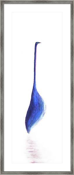Egret On White Framed Print