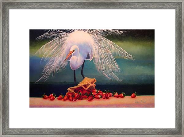Egret With Strawberry Bag Framed Print by Valerie Aune