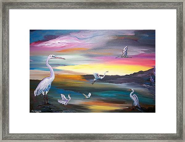 Egrets In Flight Framed Print