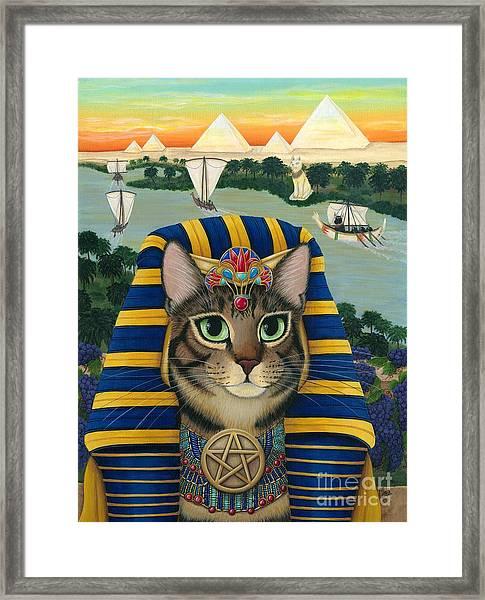 Egyptian Pharaoh Cat - King Of Pentacles Framed Print