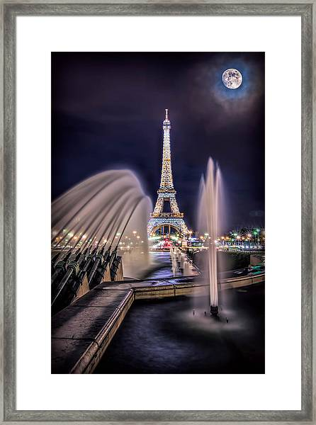 Framed Print featuring the photograph Eiffel And The Fountain by Kevin McClish