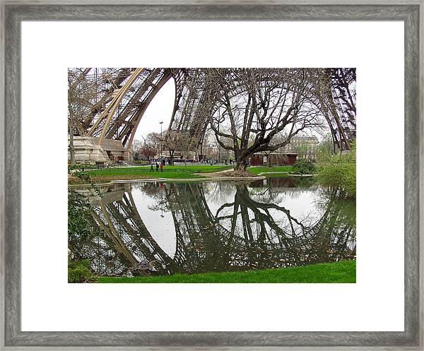 Eiffel Base Reflection Framed Print