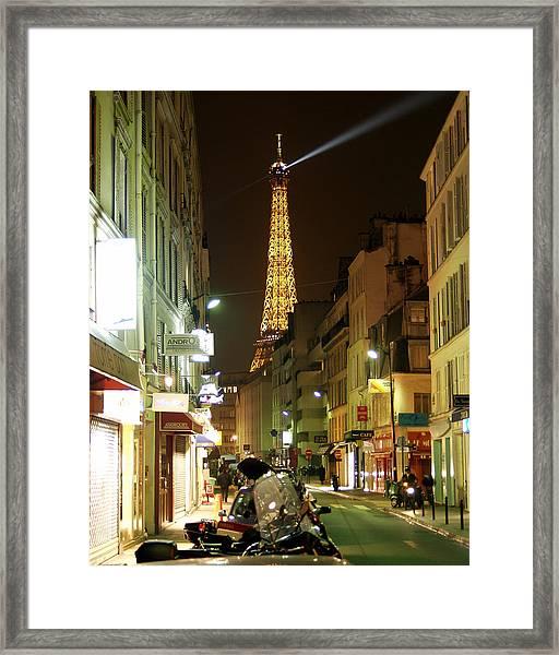 Eiffel In The Street Framed Print
