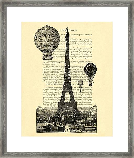 Eiffel Tower And Hot Air Balloons Framed Print