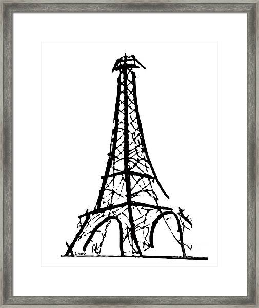 Eiffel Tower Black And White Framed Print