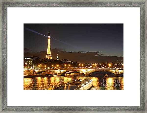 Eiffel Tower By Night Framed Print