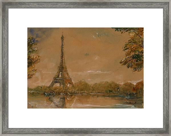 Eiffel Tower Paris Watercolor Framed Print