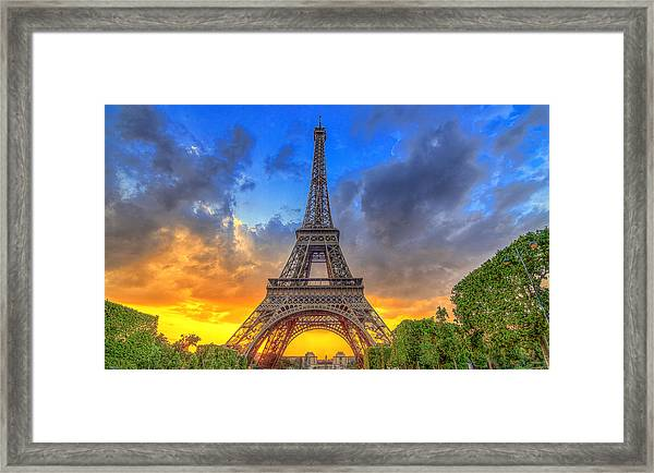 Eiffel Tower Sunset Framed Print