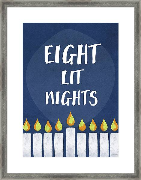 Eight Lit Nights- Hanukkah Art By Linda Woods Framed Print