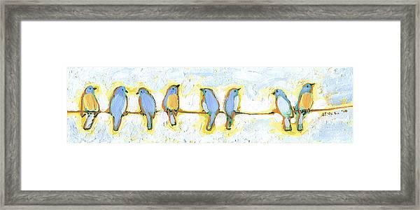 Eight Little Bluebirds Framed Print