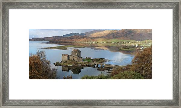 Eilean Donan Castle In Autumn - Panorama Framed Print