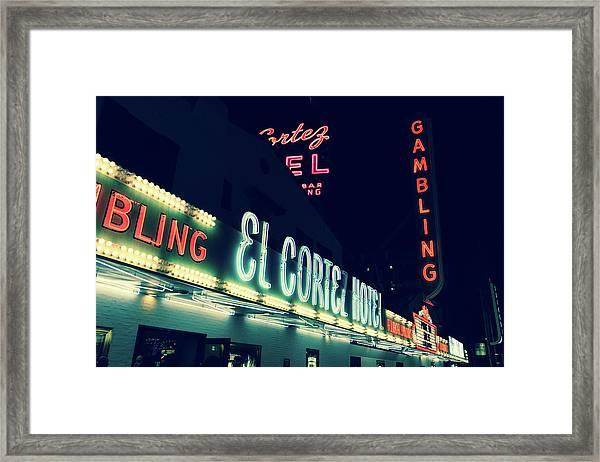 El Cortez Hotel At Night Framed Print