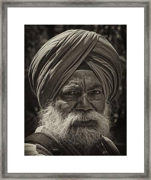 Elderly Sikh  Framed Print