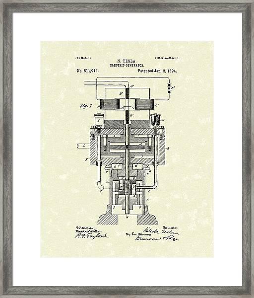 Electric Generator 1894 Patent Art Framed Print
