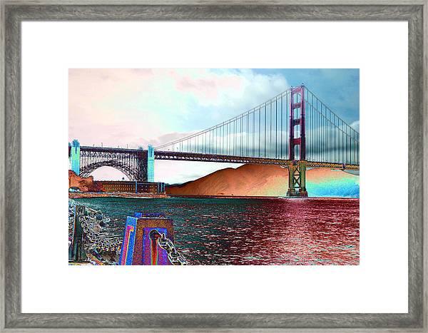 Electric Golden Gate Blue Framed Print