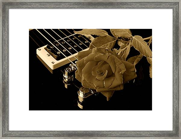 Electric Guitar And Rose Framed Print