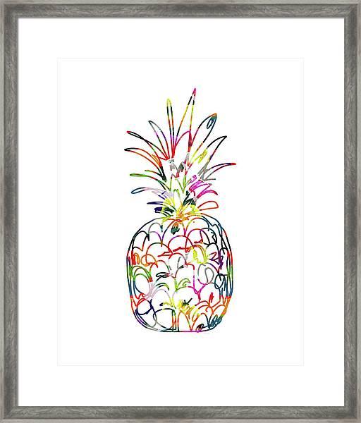 Electric Pineapple - Art By Linda Woods Framed Print