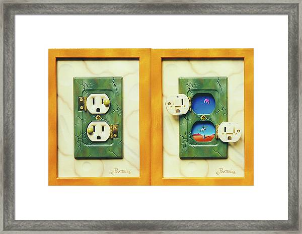 Electric View Miniature Shown Closed And Open Framed Print