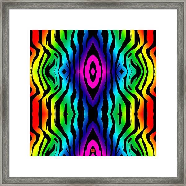 Electric Zebra Black Framed Print