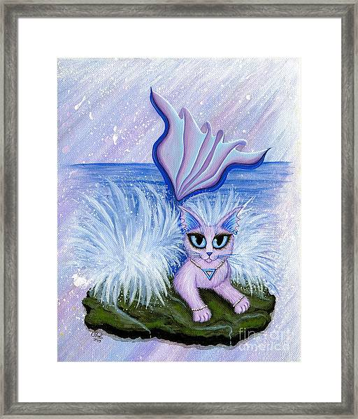Elemental Water Mermaid Cat Framed Print