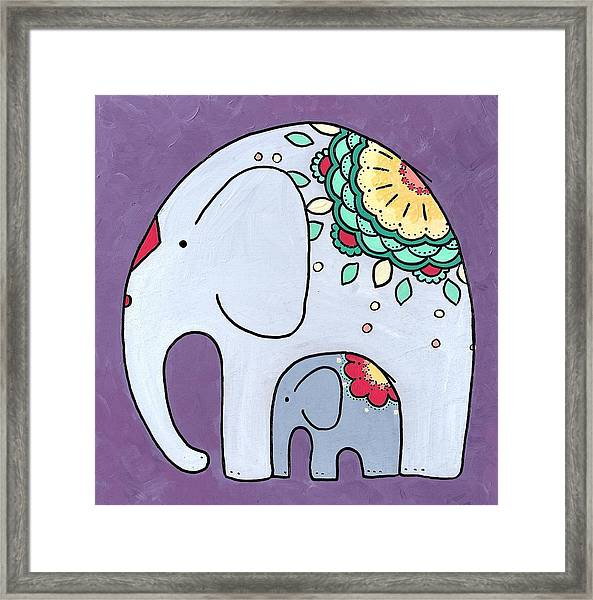 Elephant And Child - On Purple Framed Print