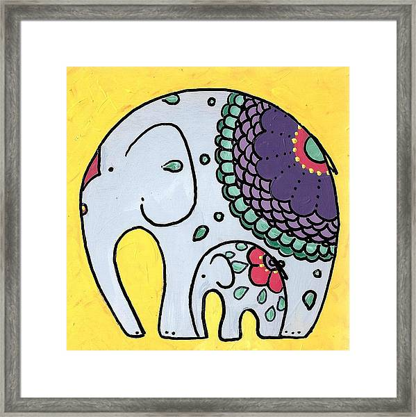 Elephant And Child On Yellow Framed Print