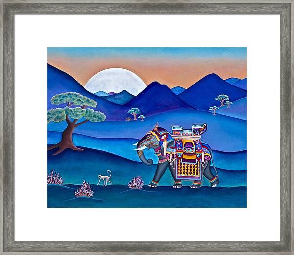 Elephant And Monkey Stroll Framed Print