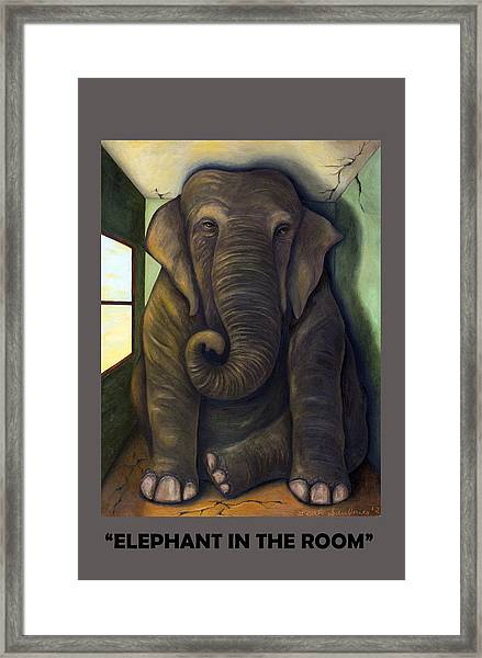 Elephant In The Room With Lettering Framed Print
