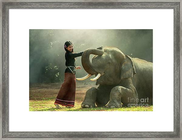 Elephant With Asian Girl Framed Print