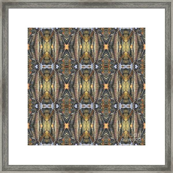 Elephant With Branch Pattern 1 Framed Print