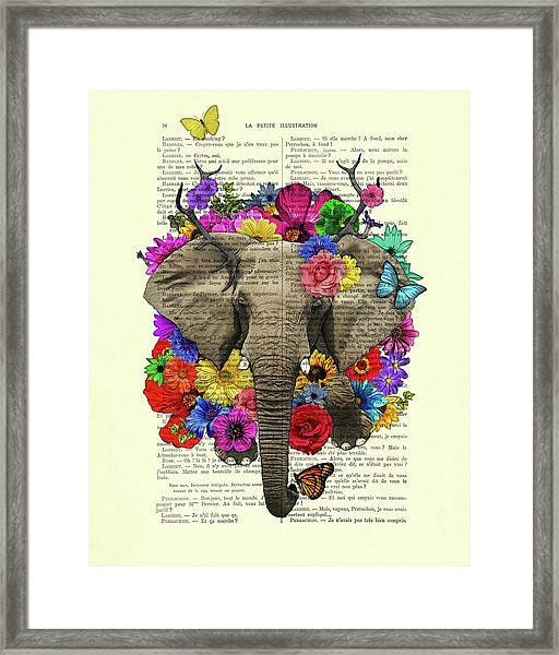 Elephant With Colorful Flowers Illustration Framed Print